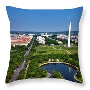 Aerial View Of The National Mall And Washington Monument Throw Pillow