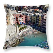 Aerial View Of Vernazza, Cinque Terre, Liguria, Italy Throw Pillow
