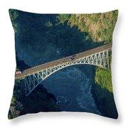 Aerial View Of Victoria Falls Suspension Bridge Throw Pillow