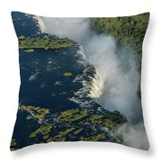 Aerial View Of Victoria Falls With Bridge Throw Pillow