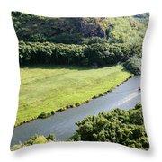 aerial view of Wailua River Throw Pillow