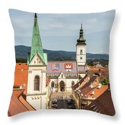 Aerial View Of Zagreb In Croatia Throw Pillow