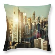 Aerial View Over Dubai's Towers At Sunset.  Throw Pillow