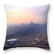 Aerial View - Philadelphia's Stadiums With Cityscape  Throw Pillow