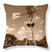 Aermotor Windmill Throw Pillow