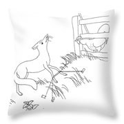 Aesop: Fox And Rooster Throw Pillow