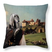 Afghan Hound-falconer And Castle Canvas Fine Art Print Throw Pillow