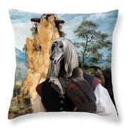 Afghan Hound-falconer And Windmill Canvas Fine Art Print Throw Pillow