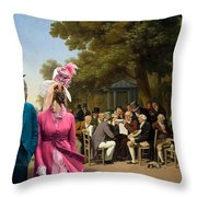 Afghan Hound-politicians In The Tuileries Gardens  Canvas Fine Art Print Throw Pillow