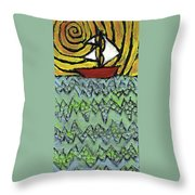 Afloat On The Bubbling Sea Throw Pillow