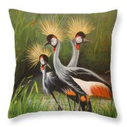 Afrian Crowned Cranes Throw Pillow