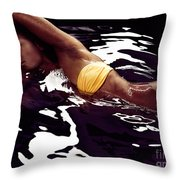 African American Woman In Bikini Lying In Black Water Throw Pillow