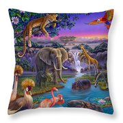 African Animals At The Water Hole Throw Pillow by Anne Wertheim