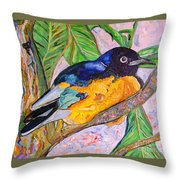 African Blue Eared Starling Throw Pillow