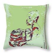 African Boy Blue Throw Pillow by Sheri Buchheit