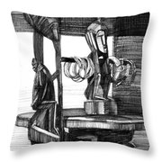 African Carved Statues Throw Pillow