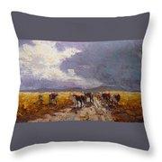 African Cattel Throw Pillow