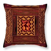 African Collage Rust Throw Pillow