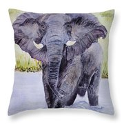 African Elephant Crossing The Chobe River Throw Pillow