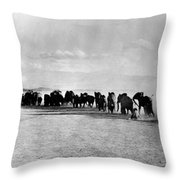 African Elephant Herd Throw Pillow