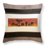 African Elephant Tribal Art Throw Pillow