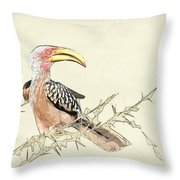 African Flying Banana Bird Throw Pillow