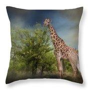 African Giraffe Throw Pillow