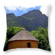 African Hut South Africa Throw Pillow