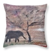 African Landscape Baby Elephant And Banya Tree At Watering Hole With Mountain And Sunset Grasses Shr Throw Pillow