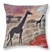 African Landscape Giraffe And Banya Tree At Watering Hole With Mountain And Sunset Grasses Shrubs Sa Throw Pillow