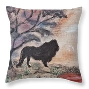 African Landscape Lion And Banya Tree At Watering Hole With Mountain And Sunset Grasses Shrubs Safar Throw Pillow