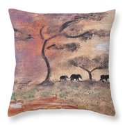 African Landscape Three Elephants And Banya Tree At Watering Hole With Mountain And Sunset Grasses S Throw Pillow