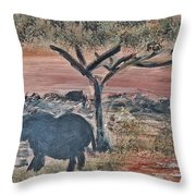 African Landscape With Elephant And Banya Tree At Watering Hole With Mountain And Sunset Grasses Shr Throw Pillow