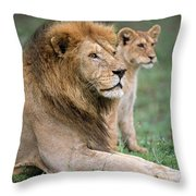 African Lion Panthera Leo With Its Cub Throw Pillow
