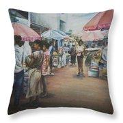 African Market Throw Pillow
