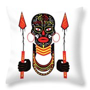 African Motive Background With Ornament Details And Spears  Throw Pillow