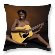 African Nude And Guitar 1184.02 Throw Pillow