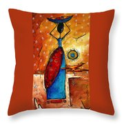 African Queen Original Madart Painting Throw Pillow