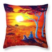 African Sunset Meditation Throw Pillow
