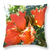 African Tulips Throw Pillow