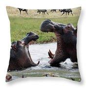 African Wildlife Montage - Hippos Throw Pillow
