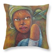 African Woman Portrait- African Paintings Throw Pillow