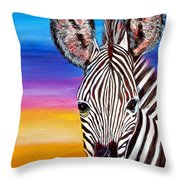 African Zebra Aura Throw Pillow