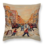 After School Hockey Game Throw Pillow