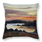 After Sunset At Lake Fleesensee Throw Pillow