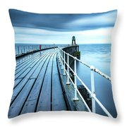 After The Shower Over Whitby Pier Throw Pillow