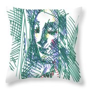 After Vermeer - Face Of Woman Holding A Balance Throw Pillow