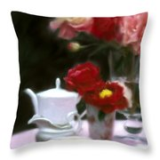 Afternnon Tea With Peonies Throw Pillow