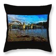 Afternoon At Siuslaw River Bridge Throw Pillow