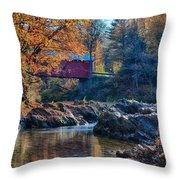 Afternoon Autumn Sun On Vermont Covered Bridge Throw Pillow